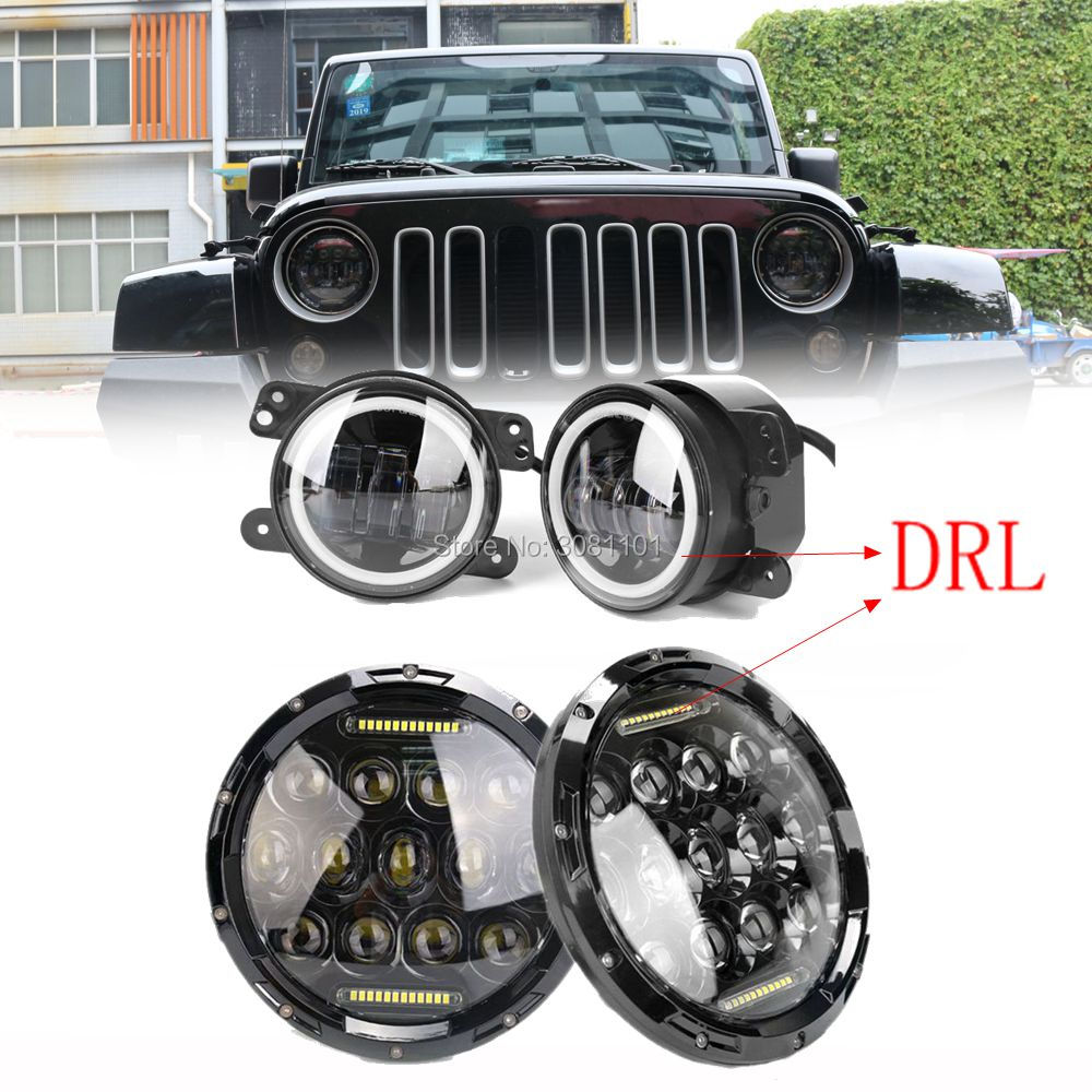 Chrome 7 LED Headlight car led projector autolamp with drl +4 Fog lamp white DRL for jeep/2014 F-150/2015 unlimited Sahara