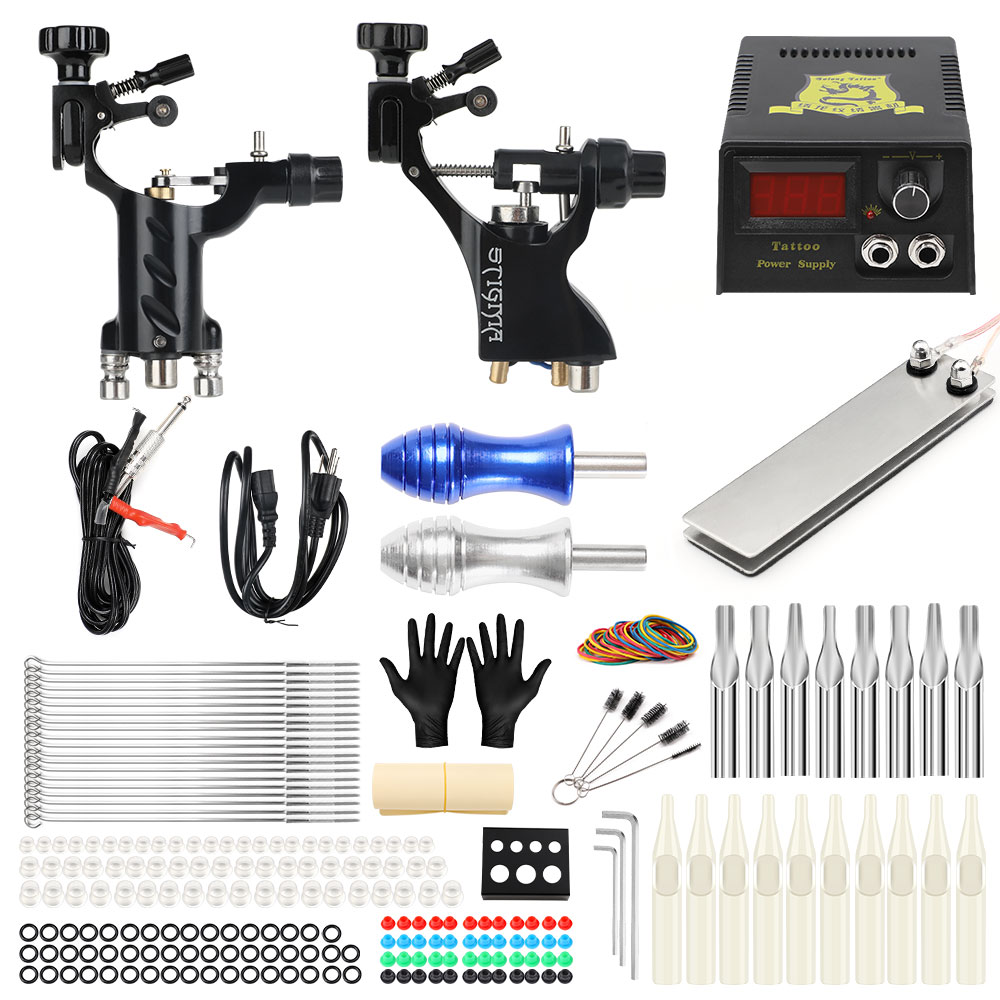 Hybrid Tattoo Machine Kit Two Rotary Gun Set For Liner and Shader Power Supply Foot Pedal Needles Grip Tattoo Body&Art TK202-19