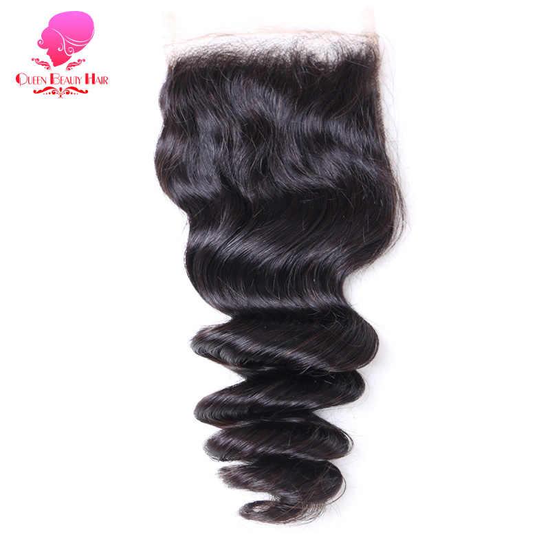 Kraliçe güzellik saç brezilyalı dantel kapatma gevşek dalga 4x4 Remy İnsan saç kapatma ücretsiz bölüm ağartılmış knot ile bebek saç