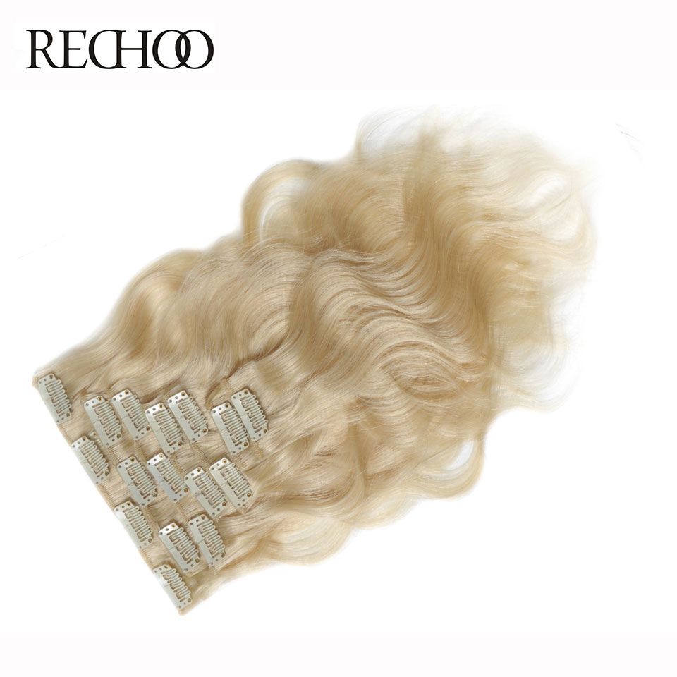 Rechoo Machine Made Remy 10pcs Blonde Clip In Human Hair Extensions Body Wave Clips In Hair