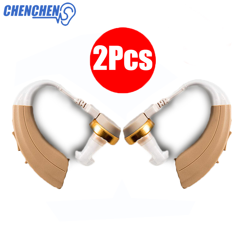 Newest 2Pcs Clear Hearing AID Volume Adjustable Ear Sound Amplifier Enhancement BTE Ear AIDS for Hearing
