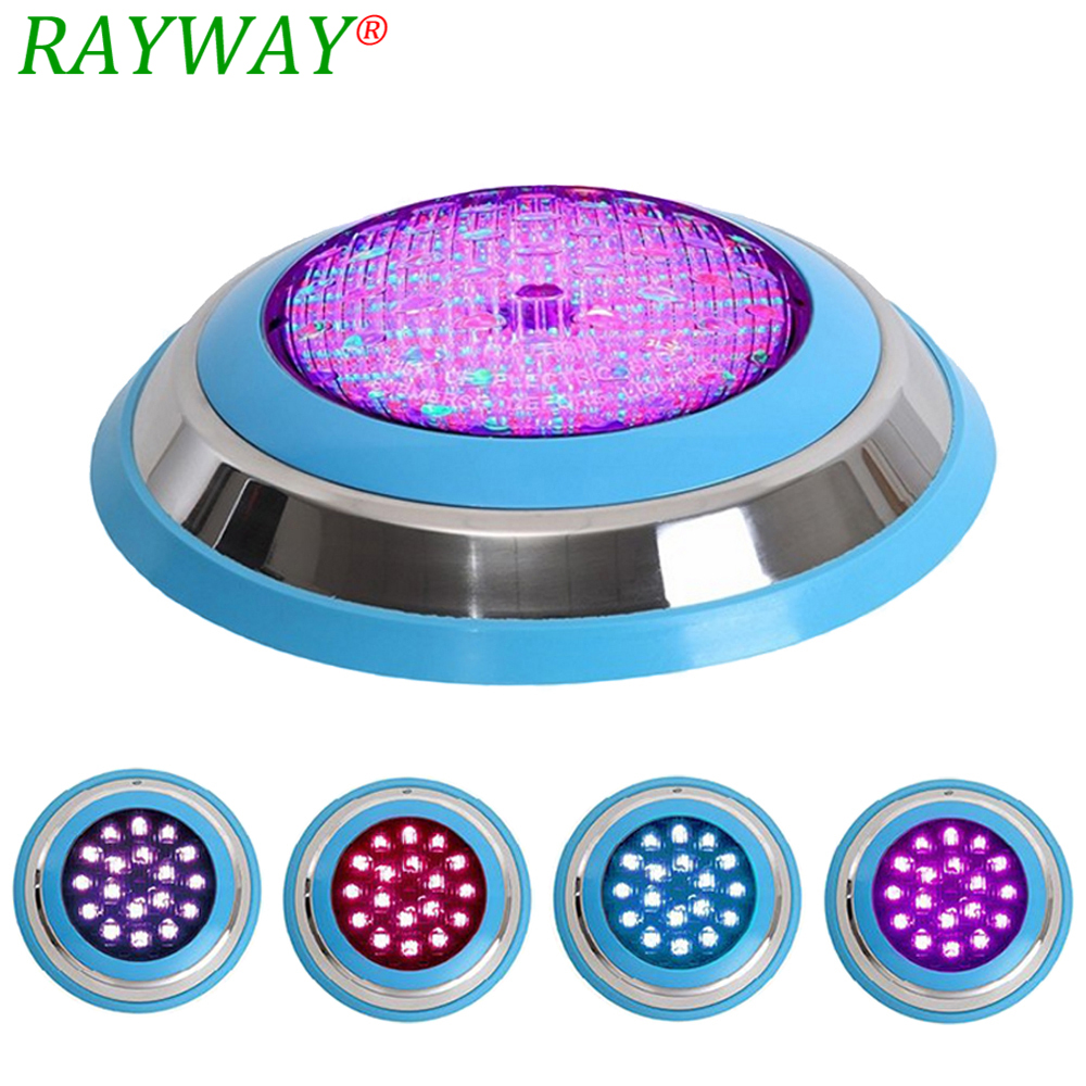 RAYWAY LED Swimming pool light 54W RGB AC/DC 12V Safe IP68 LED underwater Lamp Outdoor Lighting 18Leds Pond piscina light