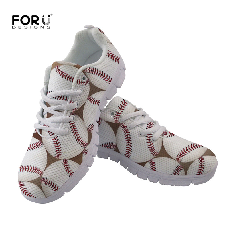 FORUDESIGNS Women Leisure Flats Shoes 3D Baseball Print Breathable Mesh  Sneakers for Girls Boys Ball Lover Light Shoes Zapatos