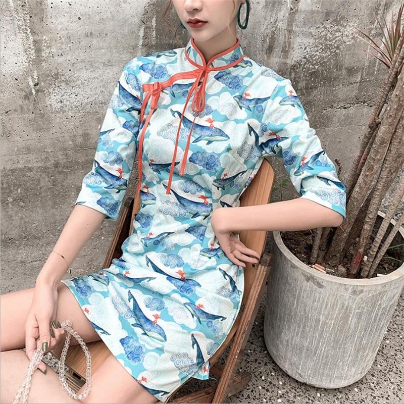 2020 Sexy Half Sleeve Womens Qi Pao Modern Cartoon Printed Plus Size Cheongsam Chinese Dress Oriental Lady Clothing S-XXL