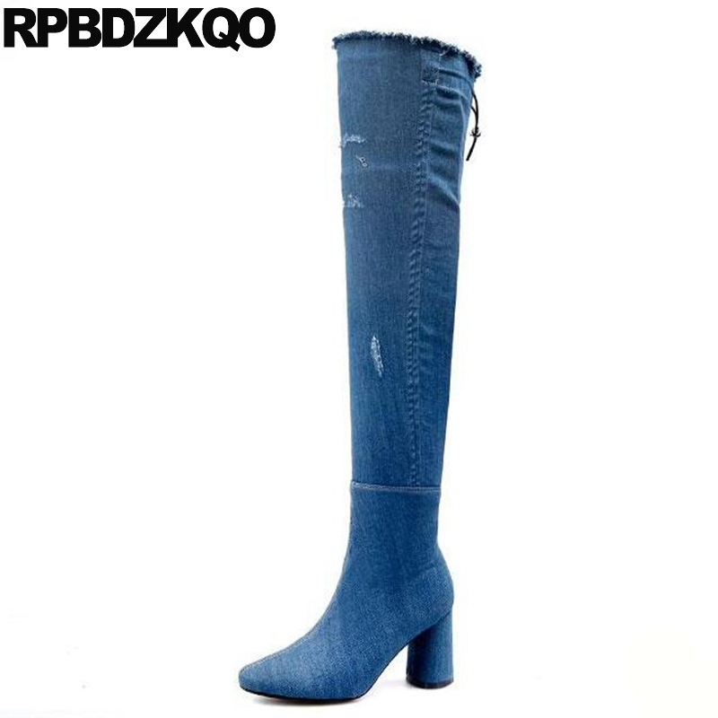 Block 2017 Jeans Round Toe Fashion Long High Heel Size 4 Blue Denim Boots Knee Ladies Shoes Lace Up Slim Over The Chunky Winter peter block stewardship choosing service over self interest