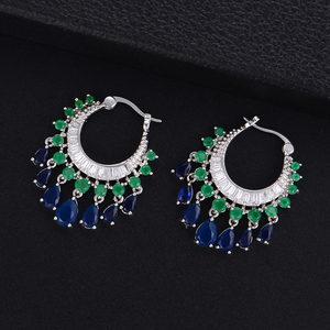 Image 4 - GODK 34mm  Elegant Water Drop Design Green Blue Full Mirco Cubic Zirconia Bridal Wedding Women Tassel Earring Fashion Jewelry