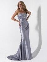 New Arrival Sexy Strapless Beaded Long Sliver Mermaid Evening Dresses Women Formal Gowns Vestidos De Festa 2015
