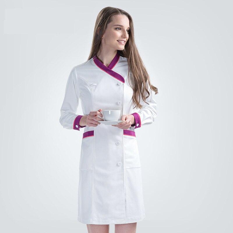 2018 New Plus Size Nurse Robe Winter Clothes for Women Medical Scrub Clothing White Y Neck