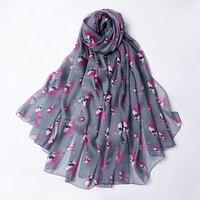 Flora Skull Head Scarf Women Fashion Shawls Wraps Four Seasons Silk Scarves