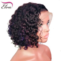 Elva 150% Density 13*6 Deep Parting Lace Front Human Hair Wigs Curly Wigs Bleached Knots Front Lace Wig Brazilian Remy Hair Wig