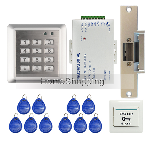 Brand New In Stock DIY Waterproof RIFD Keypad Door Access Control System Kit Set + Electric Strike Lock FREE SHIPPING WHOLESALE wholesale new white rfid card reader code keypad door access control system electric strike door lock in stock free shipping