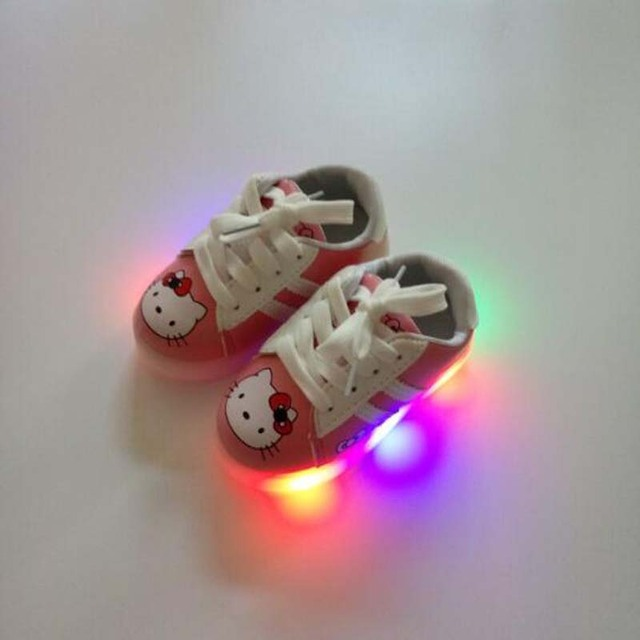 6c222b04d 2018 new Children LED shoes boys girls cartoon Hello Kitty shoes glowing  sneakers for baby toddlers 1-6Years kids single shoes