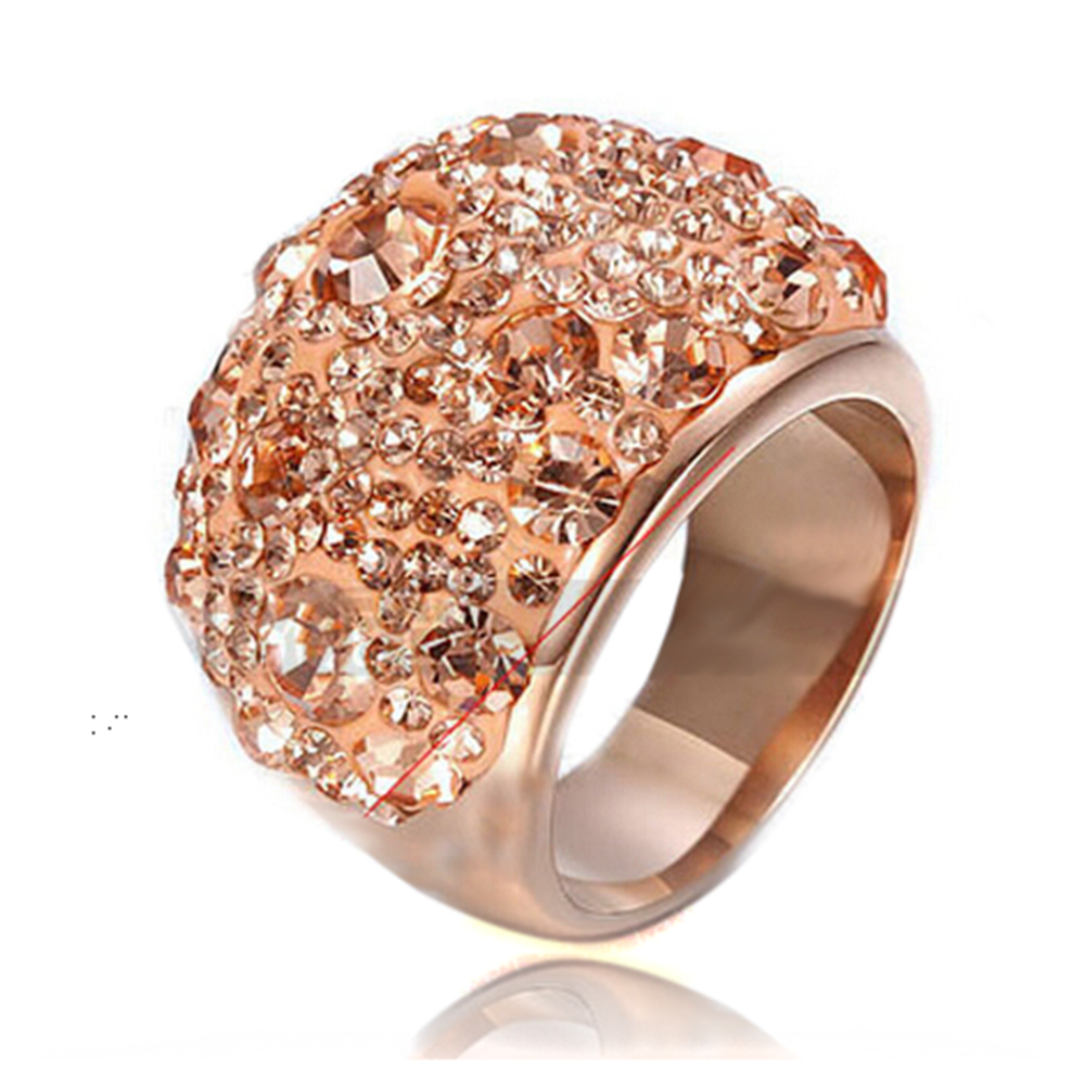 Rose Gold Color Stainless Steel Fashion Austrian Gold Crystal Engagement Rings for Women Wedding ring Jewelry rowenta cv 3712