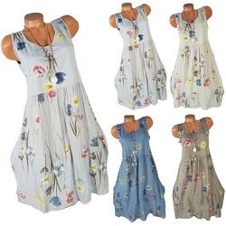 5xl kobiet sukienka duży rozmiar lato plaża sukienka 2019 moda bez rękawów drukuj floral panie sukienki na co dzień wieczór sukienka letnia 6