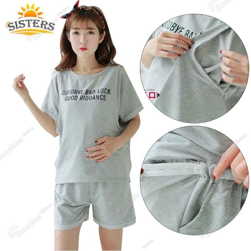 Stor Storlek Bomull Maternity Sängkläder För Gravida Kvinnor Pyjamas Nursing Bröstmatning Nattklänning Kläder För Shorts Sets Ärm