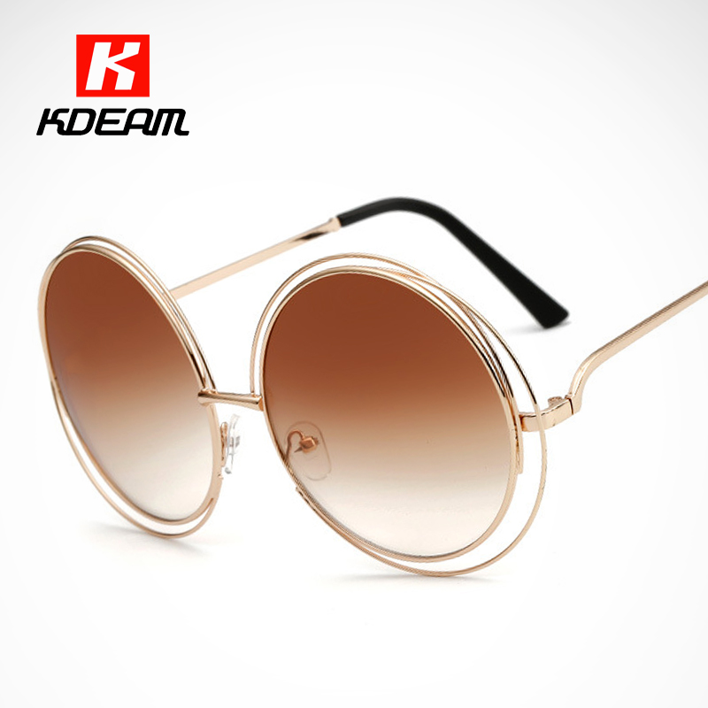 KDEAM Happy Fashion Oversized Sunglasses Women Round Carlina Style Big Sunglasses Brand Designer Glasses Hollow With Case CE