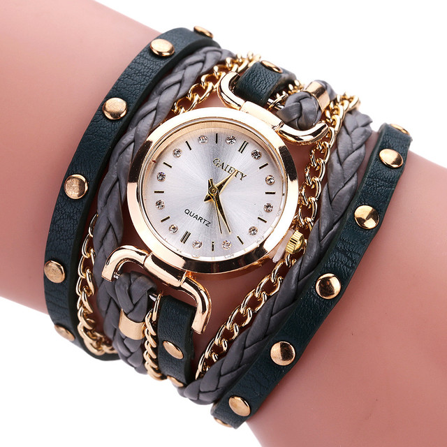 Women Watches Fashion Casual Bracelet Watch Feminino Relogio Leather Rhinestone