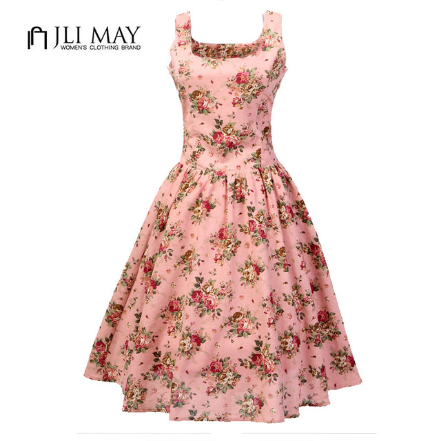 eb45496188092 JLI MAY linen floral Print 50s Rockabilly Audrey Hepburn vintage Retro Pink  Sleeveless women summer dress