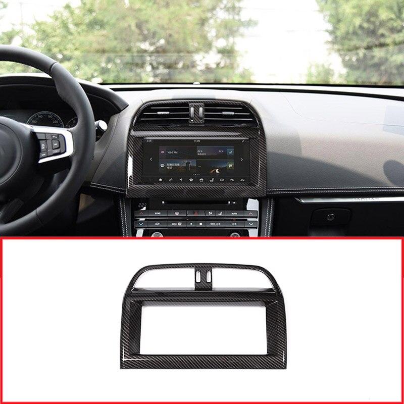 Carbon fiber Car Interior ABS Plastic Navigation Screen Frame Trim For Jaguar XE XEL F-Pace f pace X761 Car Accessories for jaguar f pace f pace x761 car styling abs chrome front fog lamp frame cover trim accessories set of 4pcs