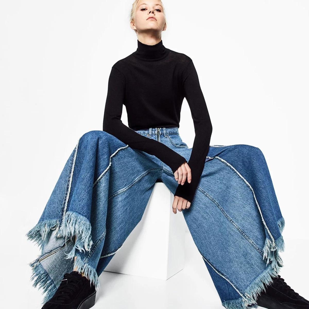 Big Hem High Waist   Jeans   Women Vintage Ripped Patchwork Pants 2018 Autumn Winter Ladies Loose Wide Leg Denim Pants Plus Size