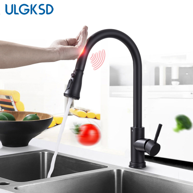 ULGKSD Nickle/ Black Sensor Kitchen Faucet Stainless Steel Sensitive Touch  Control Mixer Tap Hot And