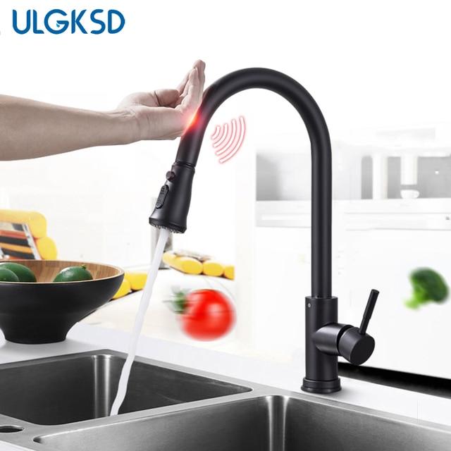 Ulgksd Nickle Black Sensor Kitchen Faucet Stainless Steel Sensitive