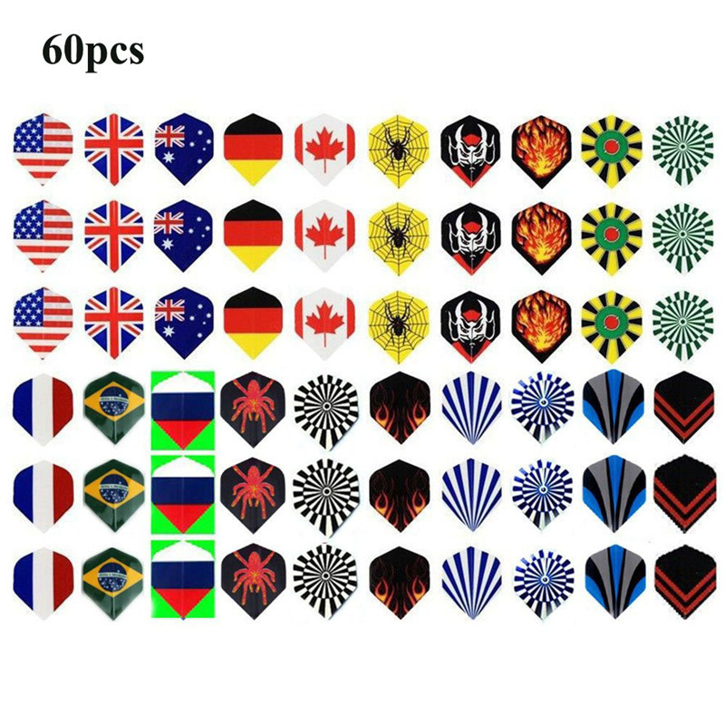 60pcs 2D Cool Standard Dart Flights Nice Darts Flight Outdoor Wing Tail Mixed Pattern Harrows Throwing Toys