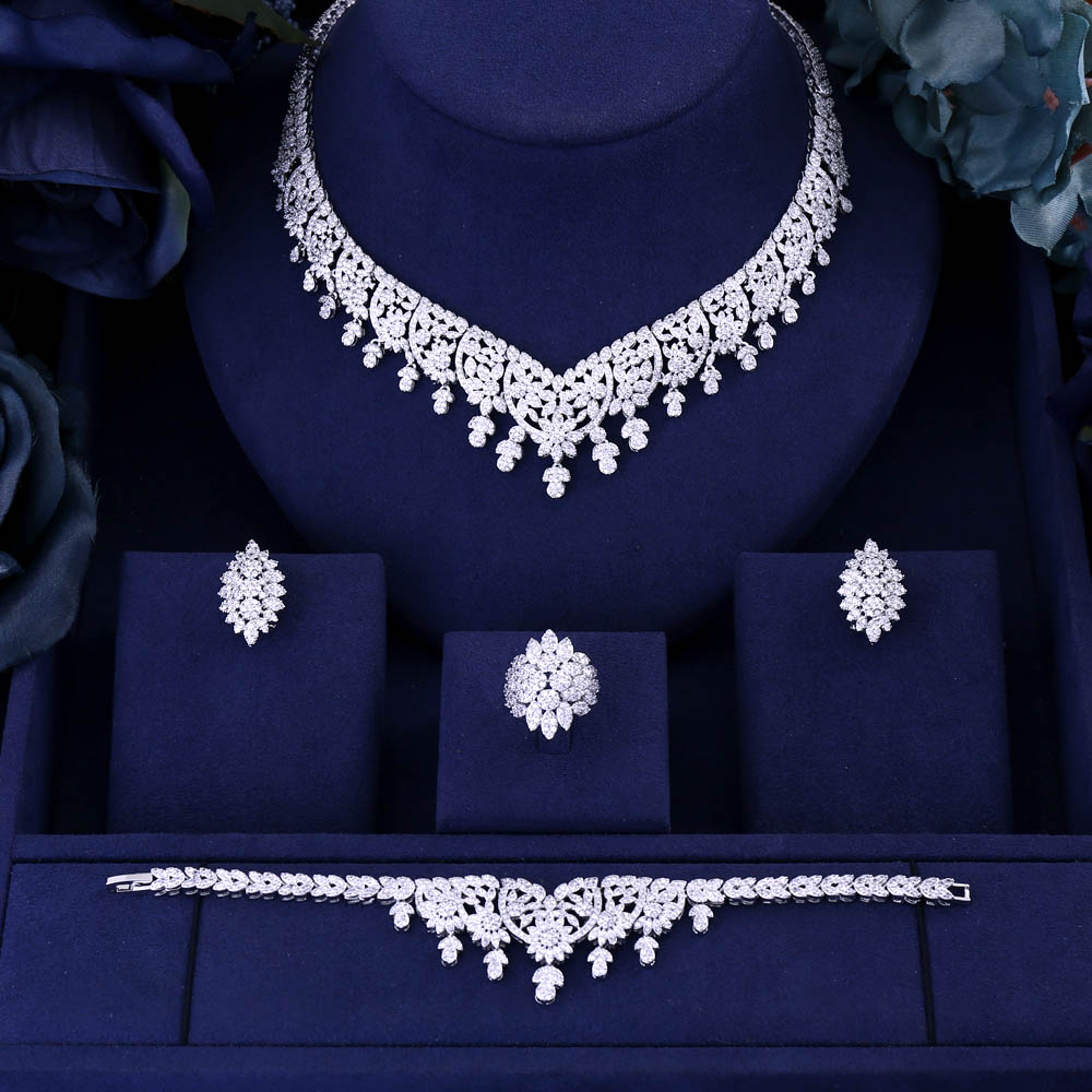 jankelly Hotsale Nigeria 4pcs Bridal Jewelry Sets New Fashion Dubai Full Jewelry Set For Women Wedding Party Accessories Design