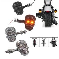 1 пара персонализированные аксессуары для мотоциклов ремонт Панк Череп Форма указатели поворота Индикаторы для мотоцикла
