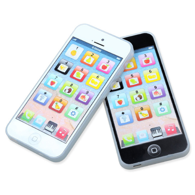New Hot 1pc Toy Phone White Or Black Baby Child YPhone Mobile Toys with Cable Phone Educational Toy + USB Cable Xmas Babay Gifts