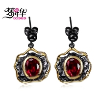 DreamCarnival 1989 Designer Super Cute Drop Earrings for Women Red CZ Black Gold Color Pendientes Brincos Vintage Gothic Jewels