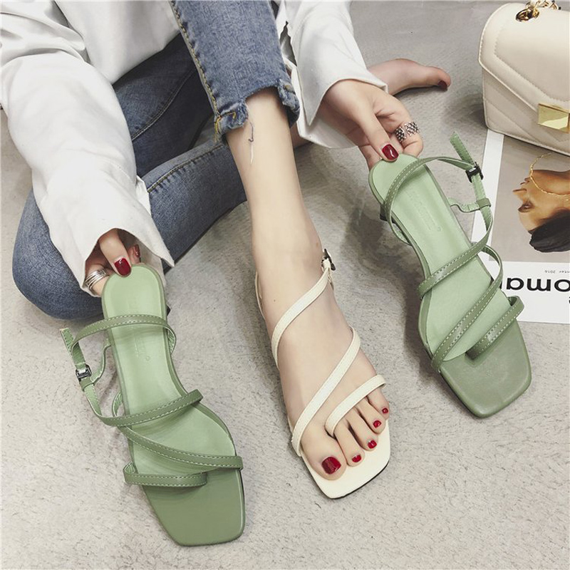 Womens Thong Sandals 2019 Summer Peep Toe Mid-Heel Women Fashion Gladiator Shoes Rome Style Ladies Thin Belt