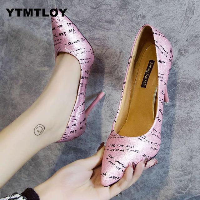 靴女性パンプス固体エレガントなハイファッションのウェディング Famale ヒール高セクシーなブライダルブリンブリンゴールドハイヒール Zapatillas Mujer