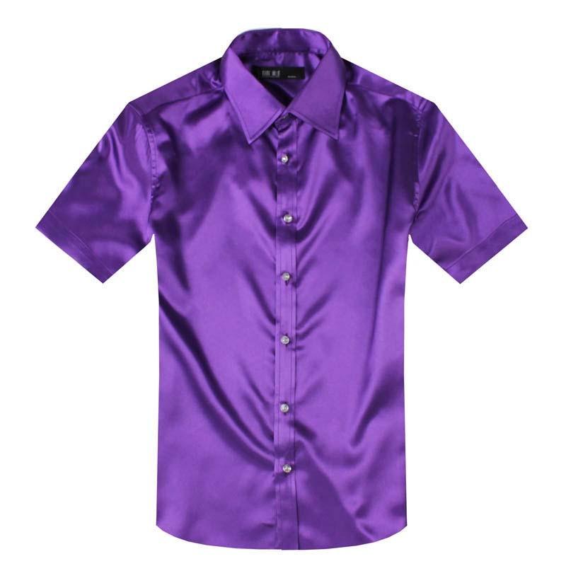Anpoetchy brand shirt summer men faux silk shirt short for Bright mens dress shirts