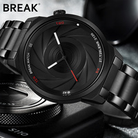 BREAK Photographer Series Unique Camera Style Stainless Strap Men Women Casual Fashion Sport Quartz Modern Gift