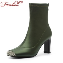 FACNDINLL women ankle boots 2019 new autumn fashion silk sexy high heels black green shoes woman dress party dance riding boots facndinll women boots new fashion autumn winter square high heels pointed toe zipper shoes woman dress party riding ankle boots