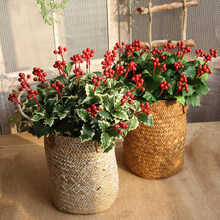 1 Branch Artificial Berry Vivid Red Holly Berry Berries Home Garland Christmas Dec New Beautiful Home Wedding Decor 5 Styles(China)