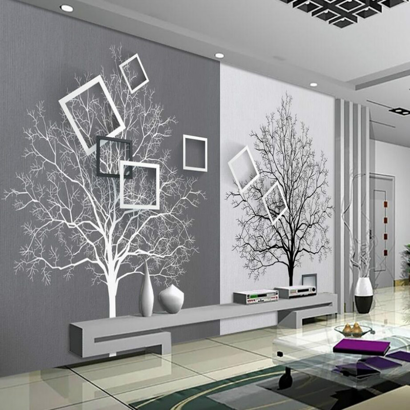 3d Wall Paper Rolls Wallpaper for Walls 3d Murals HD Black and White Tree Simple 3D TV Background Wallpapers Home Improvement shinehome abstract brick black white polygons background wallpapers rolls 3 d wallpaper for livingroom walls 3d room paper roll