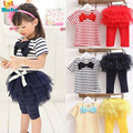 Kid Girl Stripe Bow Top T-shirt + Tutu Skirt Leggings Culottes 2pcs girls clothing set kids suits Outfit Sets Free&Drop Shipping