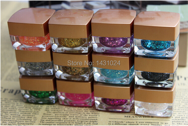 12PCS mix color Long Lasting UV Gel Sequins Glitter Shiny Gel Nail Polish Charming Acrylic Nail Gel Polish