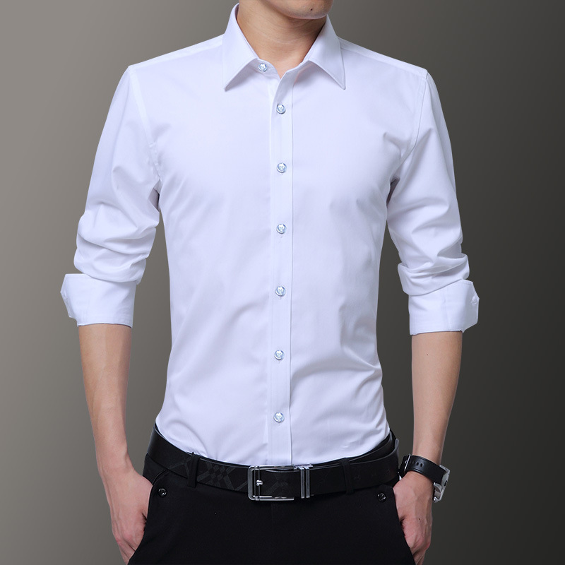 2019 New Men Shirts Business Long Sleeve Turn-down Collar Good Quality Male Shirt Slim Fit Dress Shirt Asian Size 6XL 7XL 8XL