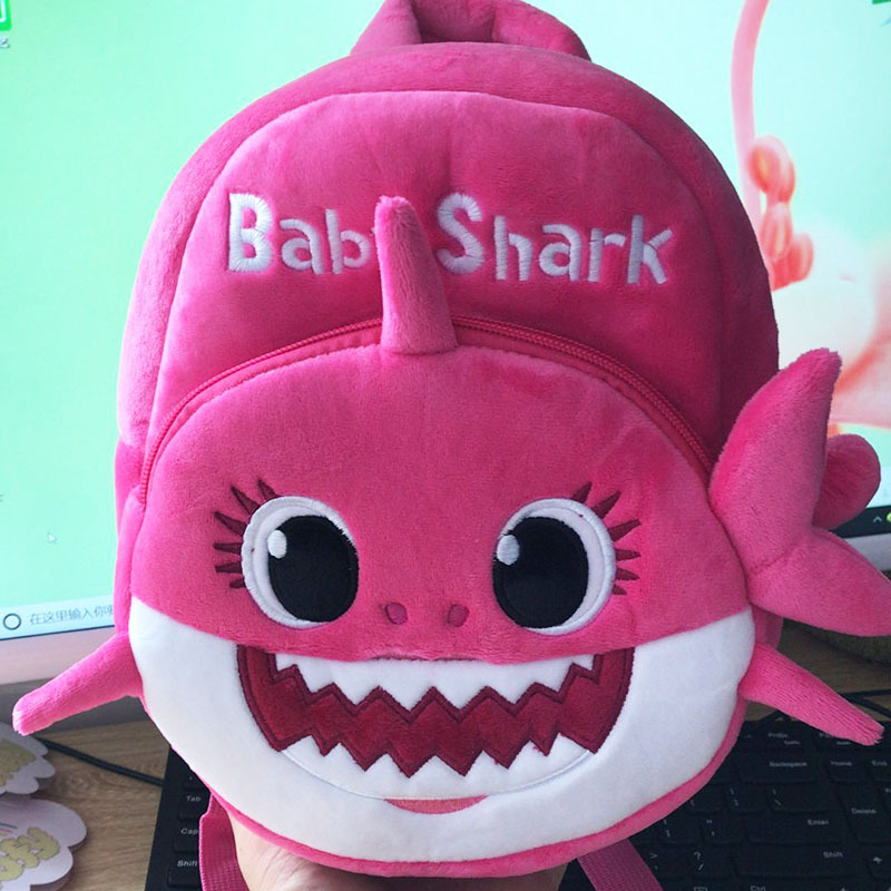 New Cartoon Baby Shark School Bag For Children Kids Cute Plush School Backpack Blue Rose Yellow Color Boys Schoolbag