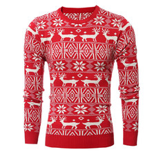 Winter Weihnachten Pullover Männer Fashion Deer Drucken Jumper Pullover Pullover Langarm Warme Casual Elch Stricken Pullover Tops Neue Jahr(China)