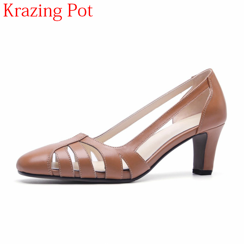 2018 Office Lady Cow Leather Elegant Breathable High Heels Hollow Women Pumps Round Toe Brown Shallow Brand Wedding Shoes L92 krazing pot 2018 cow leather simple design breathable high heels hollow women pumps round toe brown white color brand shoes l92