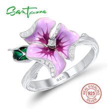 Серебряный цветок Кольца для Для женщин кольцо Белый кубический цирконий CZ Камни Pure 925 Серебряное кольцо Модные украшения ручной работы эмаль
