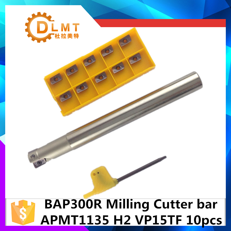 BAP300R C12 12 120 1T BAP300R C12 12 130 1T+APMT1135+10Pcs Indexable  End Mill Holder with CNC Carbide Insert free shiping tju aju c12 12 130 dia 12mm insertable bore drilling end mill cutting tools arbor for cpmt080204