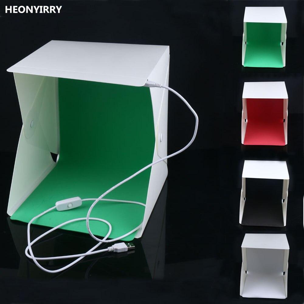 Mini Folding Studio Diffuse Soft Box With LED Light Black White Green Red Background Photo Studio Accessories Lightbox Softbox