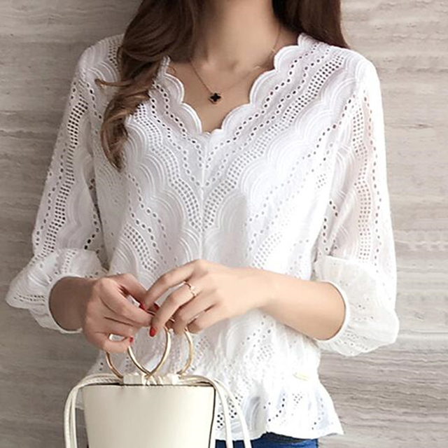 d8f02d3fb New cotton Eyelet Embroidered Panel Blouse 2018 White Collar V neck three  quarter Sleeve Top Women Casual Petal Sleeve Blouse