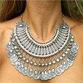 NUEVA Venta Caliente Étnica Gitana Collar Retro Del Metal Tallado Plateado Monedas de Plata Collares Para Las Mujeres de bohemia Collar de La Moneda X-635