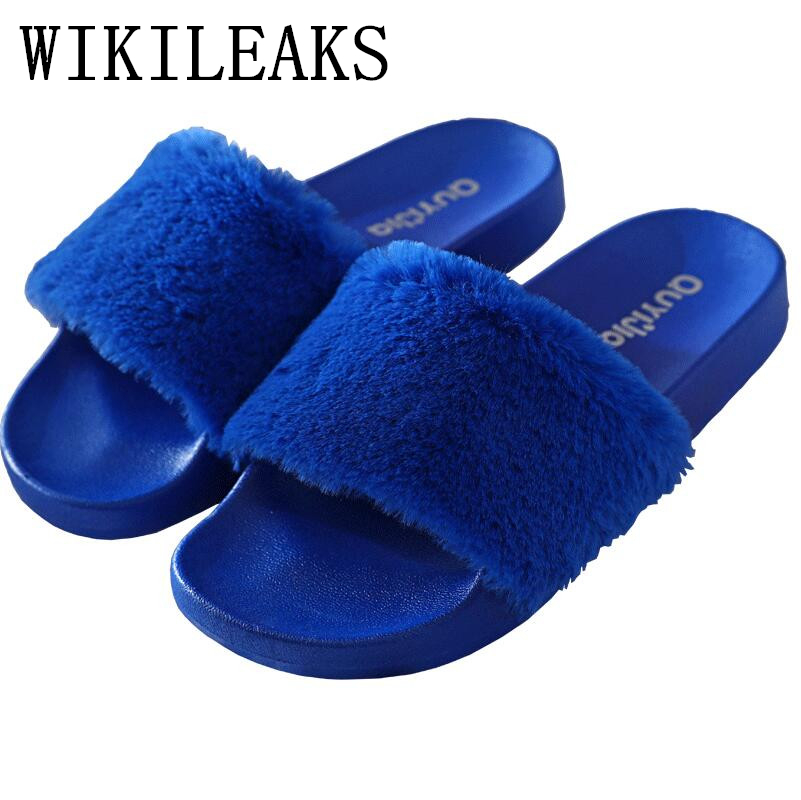fur slides designer luxury brand home slippers women shoes fur slippers pantufas de pelucia de bichos zapatillas chinelo terlik